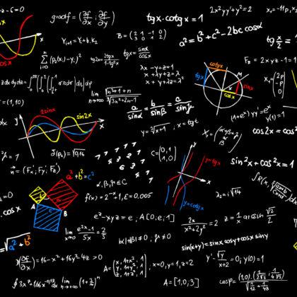 Blackboard with mathematics sketches - vector illustration