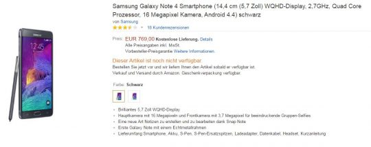 Samsung Galaxy Note 4-cena