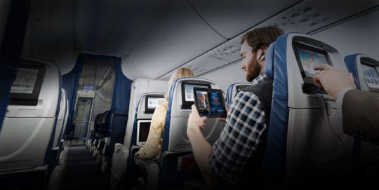 Passengers inflight in economy class