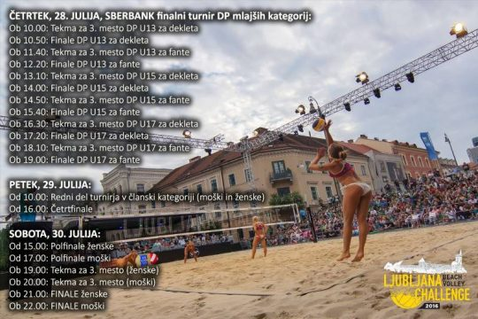 Ljubljana Beach Volley Challenge-razpored