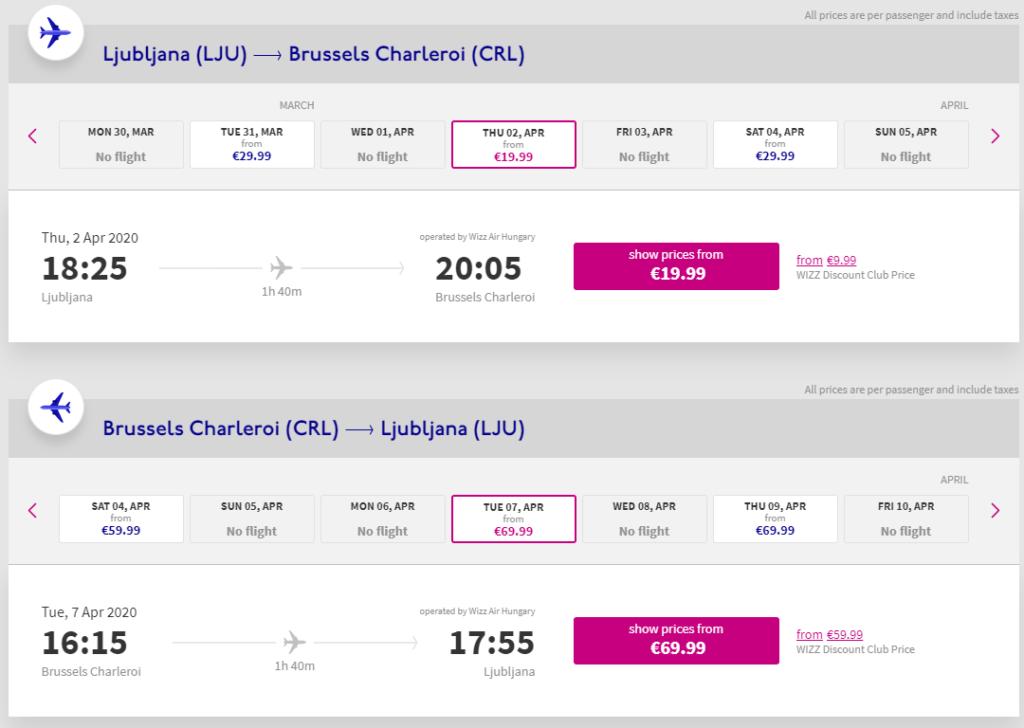 wizz-air-ljubljana-Brussels-Charleroi-poletje-2020-cenik