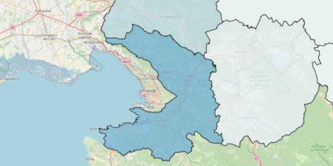 Obalno kraška regija – meja, občine, zemljevid Slovenija meje