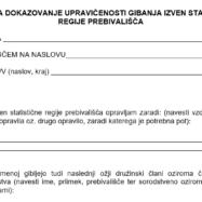 Izjava za dokazovanje upravičenosti gibanja izven statistične regije prebivališča