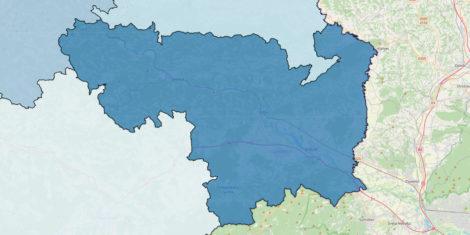 Posavska regija – meja, občine, zemljevid Slovenija meje